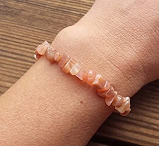 [A&S Crystals] PEACH MOONSTONE Natural Stone Gemstone Stretchy Chip Bracelet