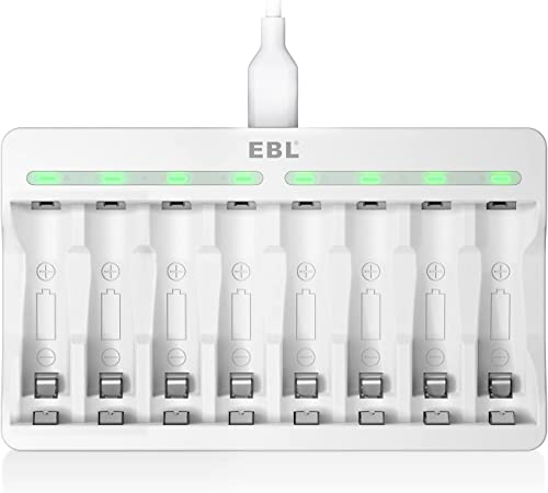 EBL AA AAA Battery Charger - Independent 8 Bay Charger with High Charging Speed for 1.2V Ni-MH Ni-CD Rechargeable Bat...