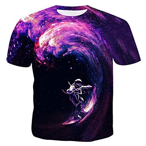 XJWDTX T-Shirt À Manches Courtes pour Hommes De Grande Taille D'Été Impression Numérique Personnalisée Pull Col Rond Pull Bas Chemise Hommes