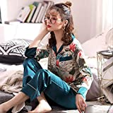 XFLOWR Spring and Autumn Women 2pcs Set Cute Pink Pyjamas Set Ladies Soft Comfort Sleepwear Long Sleeve + Pants Homewear Casual Wear L Coat and Solid Pants