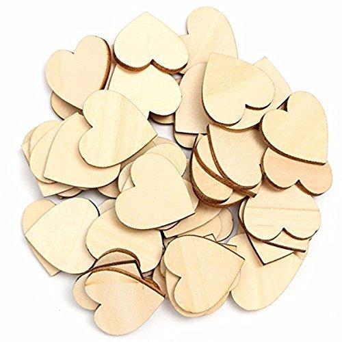 Pixnor Blanco madera corazones adornos para bricolaje hogar arte decoración 6cm Pack de 50