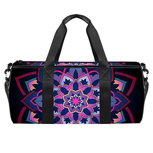 Bolsa de viaje para playa grande para deporte, gimnasio, bolsa de hombro con estampado de mandala, diseño circular, adorno con estampado circular