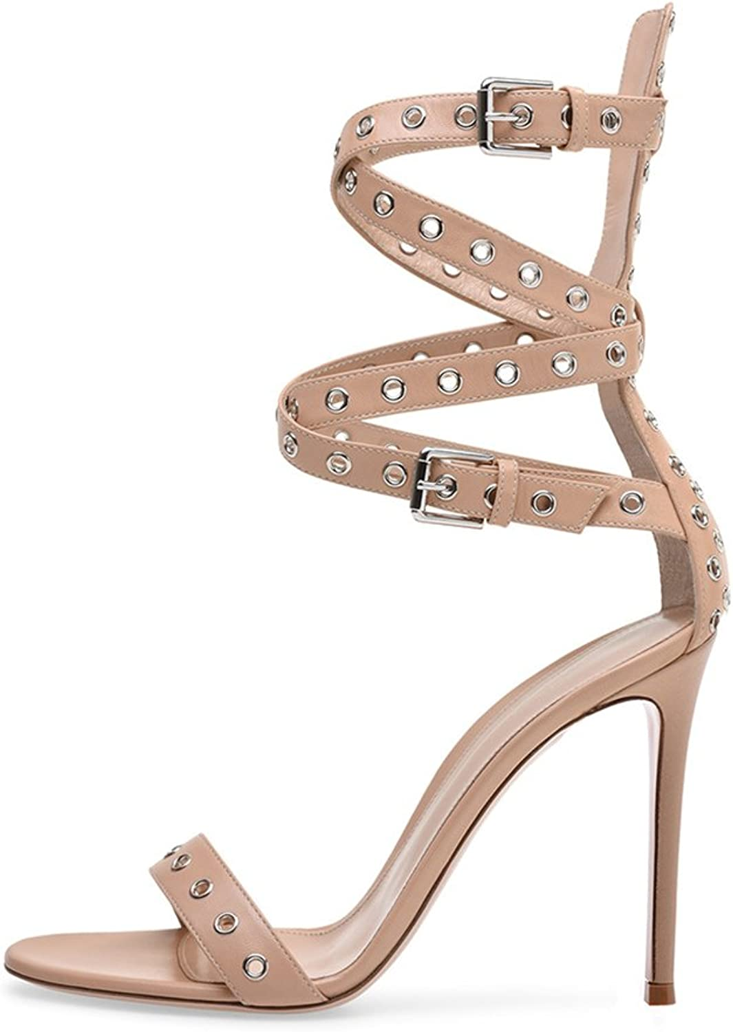 Women's High Heel Sandals Nude Sexy Sandals Buckle Cross Strap Metal(Heel Height  11-13cm)
