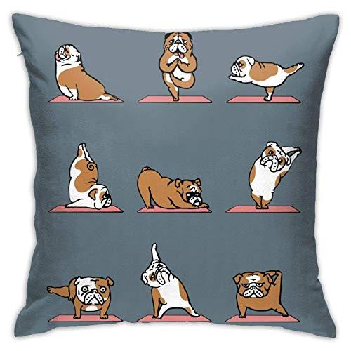 Funda de cojín Throw Cojín Throw Pillow Case Yoga Bulldog Inglés Funda de Almohada 45X45CM