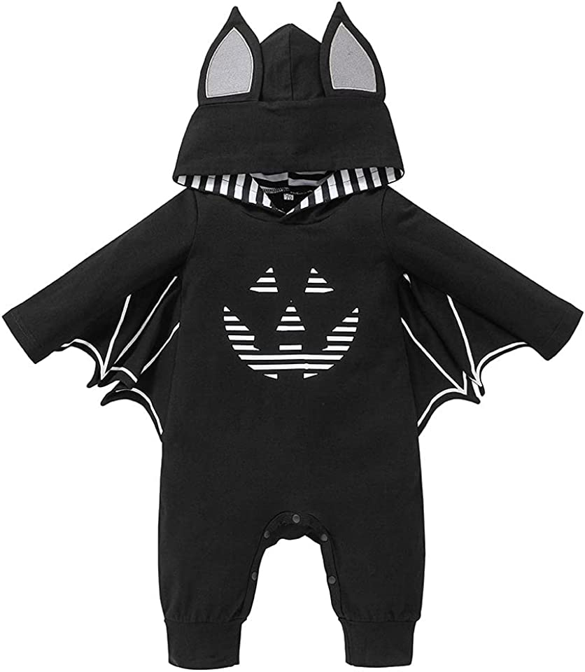 Baby Boy Girl Halloween bat Costume My First Halloween Romper Jumpsuit with hat Outfits