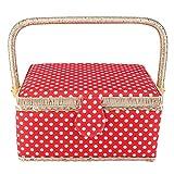 Scatola da cucito, cestino artigianale in tessuto cestino cucito vintage fatto a mano kit da cucito con scatola portaoggetti ago scatola di immagazzinaggio per kit di cucito di stoccaggio rossa