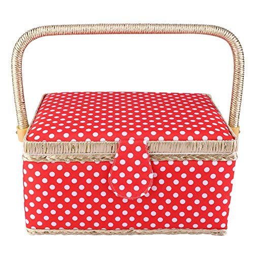 For Sale! Sewing Basket Organizer, Handmade Sewing Basket Household Fabric Craft Thread Needle Organ...