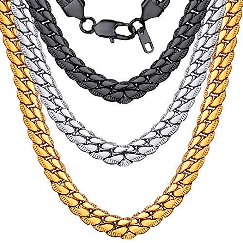 ChainsHouse Collar Grande 8mm de Serpiente para Mujeres Hombres Collar de Cadenas 55cm Acero Oro