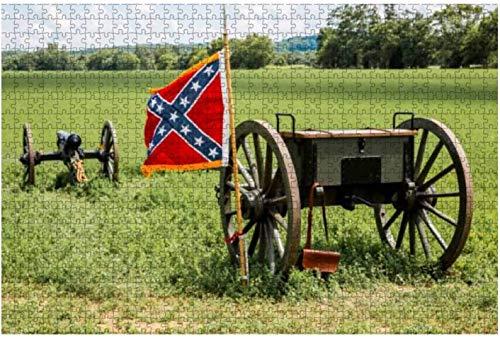 American Civil war Confederate Battle Flag Cannon and Limber Rompecabezas grandes de 500 piezas para adultos Juguete educativo para adultos Niños Juego de rompecabezas grande Juguetes Gift-PUZZLE2