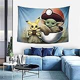 Baby Yoda Star The Wars Pik-achu Tapiz para colgar en la pared, decoración del hogar, telón de fondo de TV, sala de estar, dormitorio, 156 x 100 cm
