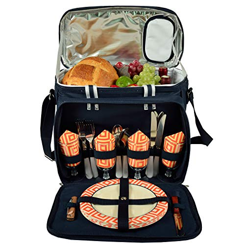 Picnic at Ascot Isolierter Picknick-Kühler mit Service für 4 Personen – entworfen und montiert in den USA