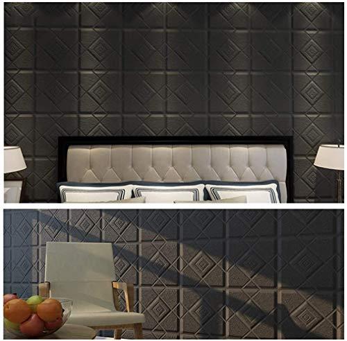 3D Wandpaneel Selbstklebende Aussehen Tapete 3D Wandaufkleber Self-Adhesive Wandpaneele Wasserdichtes PE-Schaum-Weiß-Bilder for Wohnzimmer TV Wand und Wohnkultur (Brick 10 Stück) (Color : Black)