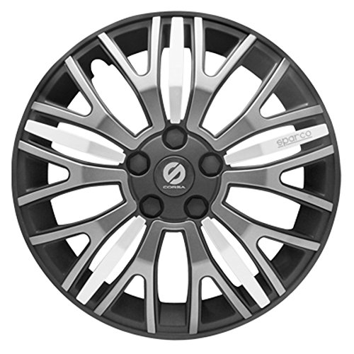ASD TECH SP 1350X Pack de 4 Enjoliveurs Design Sparco Xtraleggera 13'' Noir/Gris/Argent
