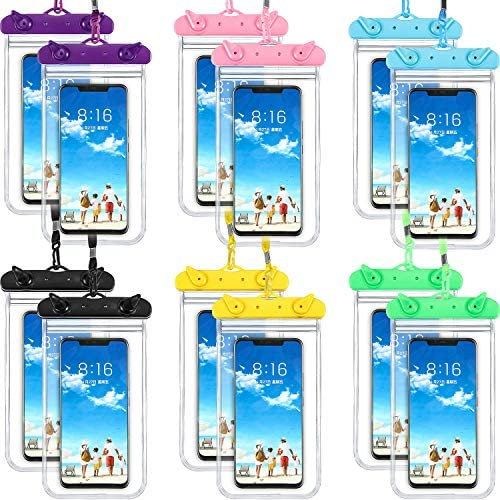 Frienda 12 Pieces Universal Waterproof Phone Pouch Underwater Case Clear Cellphone Dry Bag with product image