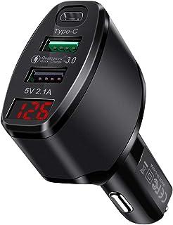شاحن سيارة USB C شحن سريع 3.0 شاحن سيارة لـ S9/Note8/S8+، LG G6/V20، آيباد، ماك بوك، آيفون Xs/Max/XR/X، نينتندو سويتش والمزيد