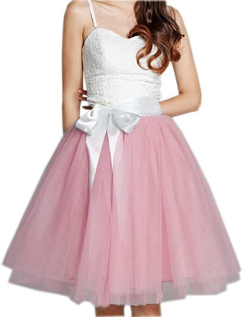 Women's XL Long Skirt, A-line Short Skirt, Tulle Long Skirt, Tulle Wedding Dress, Tulle Dress (Color : Pastal Pink, Size : Small)