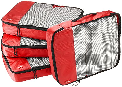 Amazon Basics Packing Cubes - Large (4-Piece Set), Red