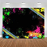Mocsicka Let's Glow Birthday Party Backdrop Adult Hip Hop 80s 90s Birthday Party Decoration Banne Vinyl Abstract Paint Splash Graffiti Background Studio Props (7x5ft)