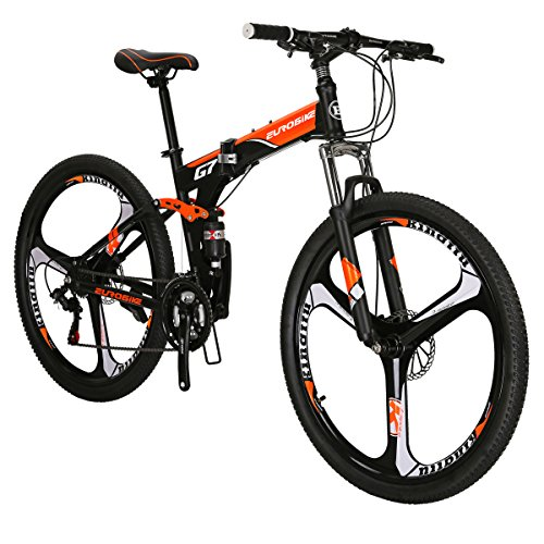 Eurobike G7 Mountain Bike 21 Speed Steel Frame 27.5 Inches 3-Spoke Wheels Dual Suspension Folding Bike Blackorange