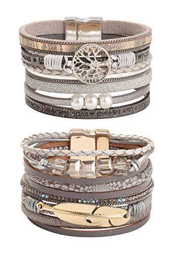 CASSIECA 2 Pièces Arbre de la Vie Bracelet Cuir pour Femmes Fille Plumes Bracelet Tissé Bracelets Perlés Vintage Wrap Bracelet Boucle Magnétique Cadeau pour Epouse Mère