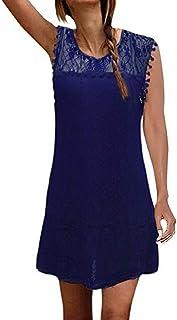SAMGU Vestito Estivo da Donna con Stampa Floreale Mezza Manica con Fiocco