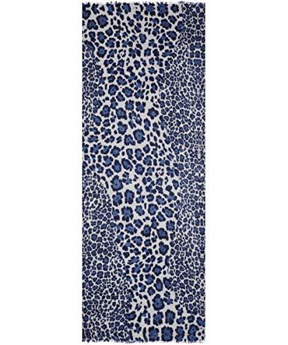 Ahujasons Damen Cashmere Mischung Leopard Print Schal Blau Ein Größe