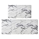 """Asvin Kitchen Mat Set of 2 Pieces, Anti Fatigue Cushioned Kitchen Rug for Floor, Non-Slip PVC Waterproof Heavy Duty Sink Mat for Home, Office, Laundry, 17""""x30""""+17""""x47"""""""