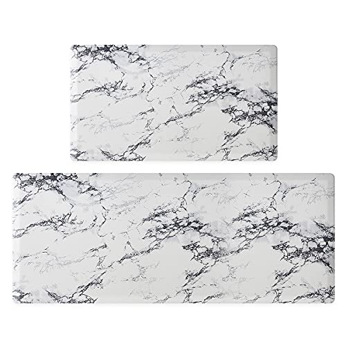 Asvin Kitchen Mat Set of 2 Pieces, Anti Fatigue Cushioned Kitchen Rug for Floor, Non-Slip PVC Waterproof Heavy Duty Sink Mat for Home, Office, Laundry, 17'x30'+17'x47'