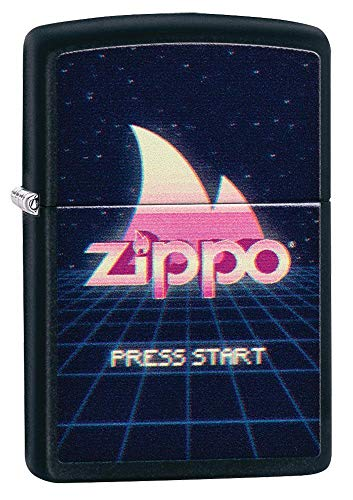 Zippo Unisex's Gaming Flame Logo Design Black Matte Pocket Lighter, One size