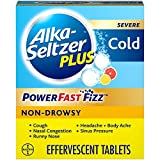 Alka-Seltzer Plus Severe, Non-Drowsy Cold PowerFast Fizz, Citrus Effervescent Tablets, for Adults with Nasal & Sinus Congestion, Cough, Sore Throat, Fever, Headache and Body Aches & Pains, 20 Count