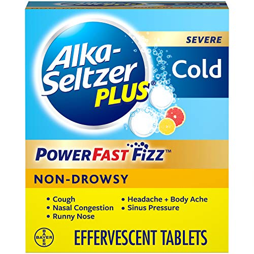 ALKA-SELTZER PLUS Severe Non-drowsy Cold Powerfast Fizz Citrus Effervescent Tablets, 20 Count