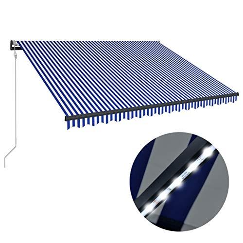 Festnight Luifel met windsensor en LED zonnescherm met zonnescherm Tuinterras Luifel Luifel Gazebo Multi-streep met fittingen en slinger 350x250 cm blauw en wit