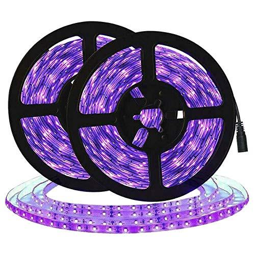SODIAL UV Led de 10M Tira de Luz Ultravioleta Flexible Púrpura 33Ft Luz Negra 600 Led Desinfectan Tira de Luz