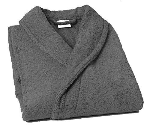 Lasa Pure Albornoz con Cuello Tipo Smoking, algodón 100%, Gris, L