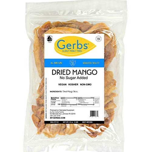 Gerbs Dried Mango Unsweetened, 2 LBS - Keto Safe, Preservative Free & Unsulfured - Top 14 Food Allergy Free & NON GMO - Product of Thailand