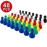 Gejoy 48 Piezas Juego de Piezas de Peones de Plástico Multicolor para Juegos de Mesa, Componente de Marcadores de Mesa