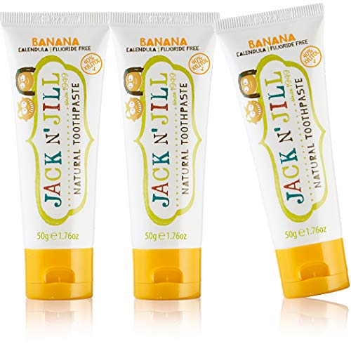 Jack N' Jill Natural Children's Toothpaste, Organic Banana, Fluoride Free, SLS Free, Vegan, 3-Pack