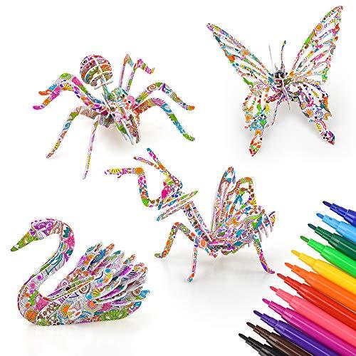 Juguetes para niñas de 6 7 8 9 años, suministros de arte para niños juego de rompecabezas de 3d para niñas niños 10 años rompecabezas para colorear en 3d regalos de cumpleaños para niñas de 4 a 8 años