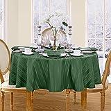 Satin Stripe No-Iron Soil Resistant Fabric Tablecloth - 70 Round, Hunter Green