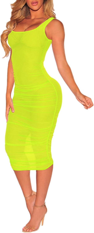 HAPCOPE Women's Sleeveless Sheer Mesh Cover Ups Bodycon Tank Dress Midi Club Dresses
