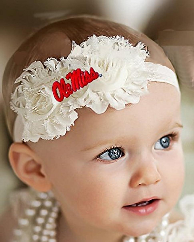 Future Tailgater Mississippi Ole Miss Rebels Baby/Toddler Shabby Flower Hair Bow Headband