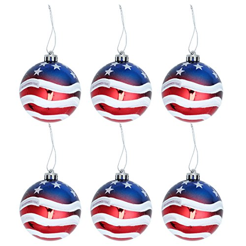 BESTOYARD Christmas Tree Balls American Patriotic Ball 4th of July Decoration Ball for Independence Day 4th of July National Day ,6 Pack