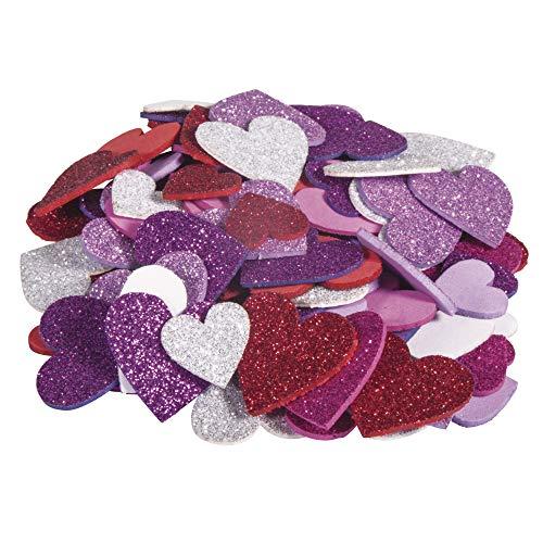 Rayher 30229000 Moosgummi Herzen Glitter, 2 + 3 cm ø, 100 Stück, selbstklebend, Farben gemischt, Glitter Schaumstoff Sticker, Moosgummi-Aufkleber Herz, zum Dekorieren