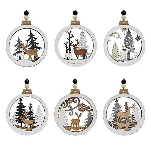 Joiedomi 6 Pcs Wooden Christmas Ornaments Hanging Reindeer Ornaments for Indoor/Outdoor Holidays, Party Decoration, Tree Ornaments, Events, and Christmas