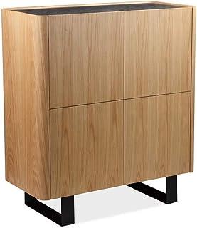 Muebletmoi - Armario de 4 puertas con bandeja de cerámica con aspecto de roble claro patas de metal diseño contemporáneo...