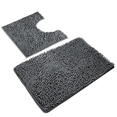 VDOMUS Microfiber Bathroom Contour Rugs Combo, Set of 2 Soft Shaggy Machine Washable Bath Shower Mat and U-shaped Toilet Floor Rug (Dark Gray)