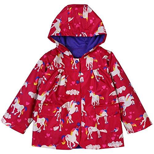 ZDAMN-etyy Regenjacke Regenponcho Jacke Red Kinderbekleidung Grün Raincoat Kinderbekleidung Raincoat Pferden-Muster-Mantel mit Kapuze Raincoat Leichter Regenponcho (Size : L)