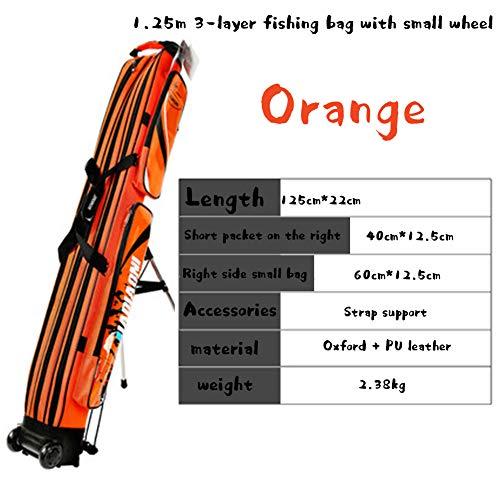HEIFEN Hartschalen-Fanggerätetasche Tragbare Zweischichtige wasserdichte PU-und Oxford-Stoffhülle 2,8 Kg Großraumrückseite Anhebbar Freie Halterung 3 Floors Wheeled