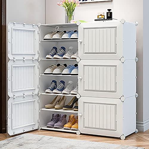 KWOPA 2 Columna 6 Nivel Zapatero,Apilable Armario De Almacenamiento De Zapatos con Puertas,Plástico Organizador De Estantes De Almacenamiento De Zapatos A 32 Pares De Zapatos-Blanco. 85x32x96cm