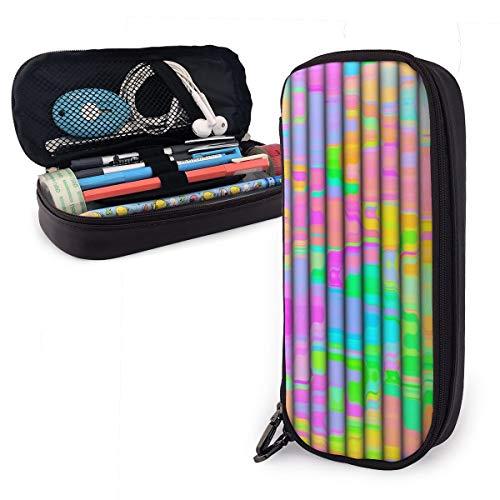 OUYouDeFangA - Bolsa de almacenamiento de piel sintética con diseño plegable de colores, bolsa de papelería portátil para estudiantes, oficina, carteras con cremallera, bolsa multifunción para maquillaje